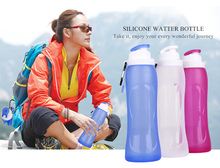 Light Weight Squeezable Sports Silicone Drinking Canteen BPA Free Colapsable Water Bottle