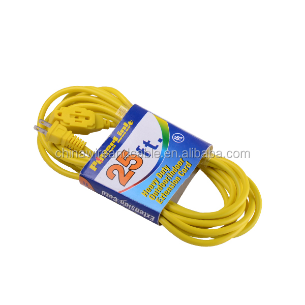 J100356 Heavy Duty Outdoor/Indoor Extension Cord, SJT 16/2, 3-Outlet 2-Conductor - Yellow