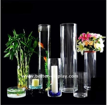 Wholesale acrylic tall plastic cylinder vases