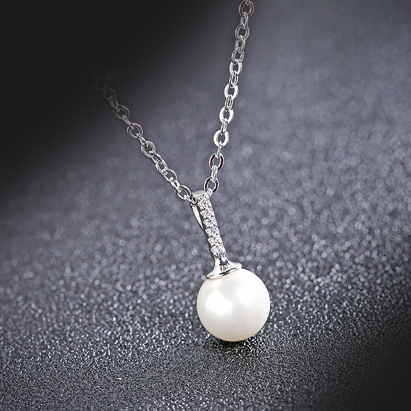H076 fashionable solitaire single pearl necklace <strong>jewelry</strong> for ladies wholesale