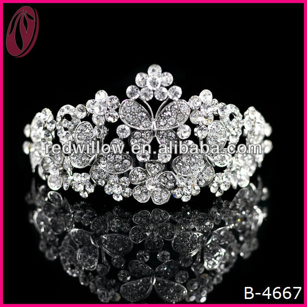 Factory Price Crystal Butterfly Crown Tiara For Girls