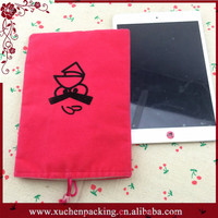 Cartoon Logo Printed Double Layer Pink Custom Made Velvet Pouch for Ipad Mini