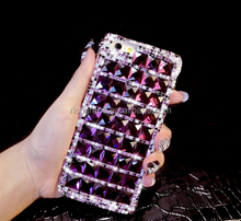 New Bling Purple Rhinestone Diamond Case For iPhone 6 6S Plus for Samsung note5 S6 edge