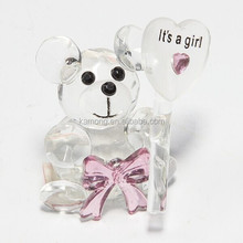 Crystal Souvenir Optical Glass Clear Color Crystal Bear For Table Decoration