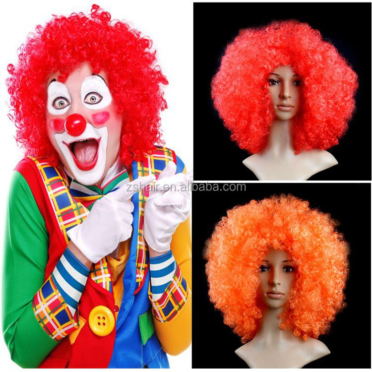 Red 2017 Adult Clown Afro Wig Curly Cool Synthetic Hair Halloween Cosplay Costume Football Fans Wig For Man Woman