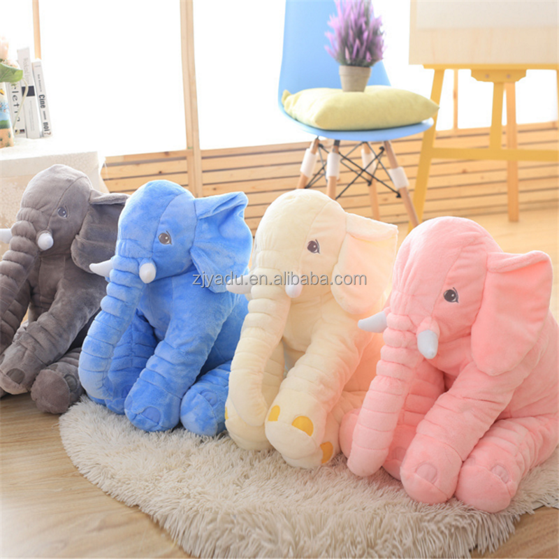 Cute Plush Colorful Elephant Soft Stuffed Wild Animal Toy With Big Ears,Pink Blue Grey elephants