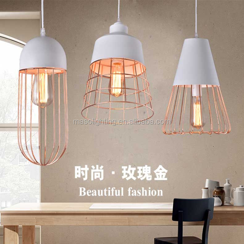 Post Modern Nordic Cast Iron Pendant lamp Simple fashion White cage Dinning room droplight Rose Gold Electroplate light