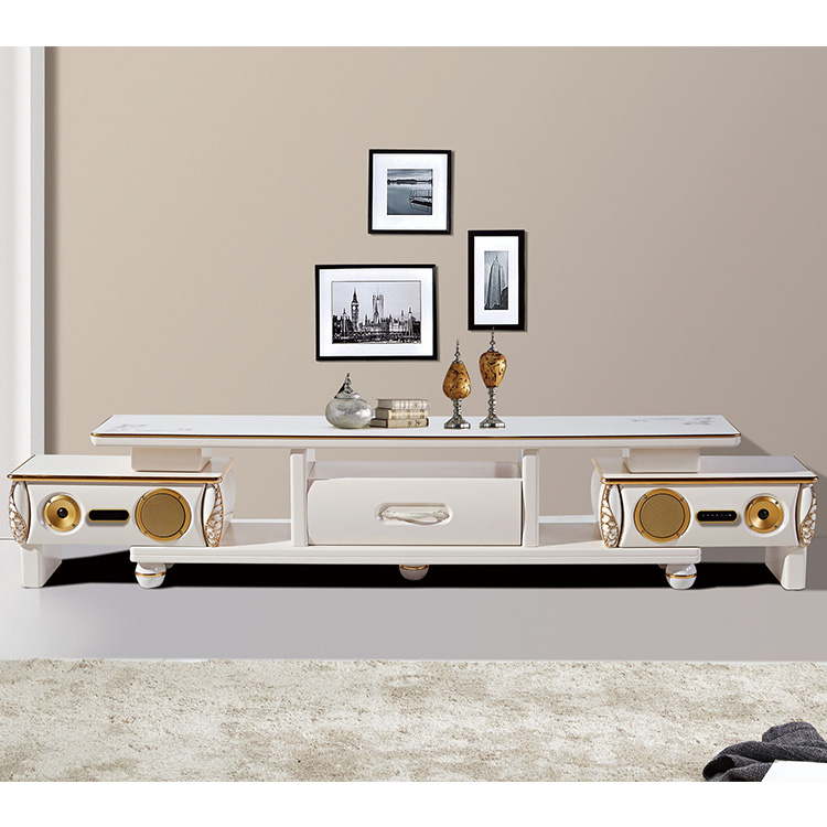living room furniture bright white LCD TV stand