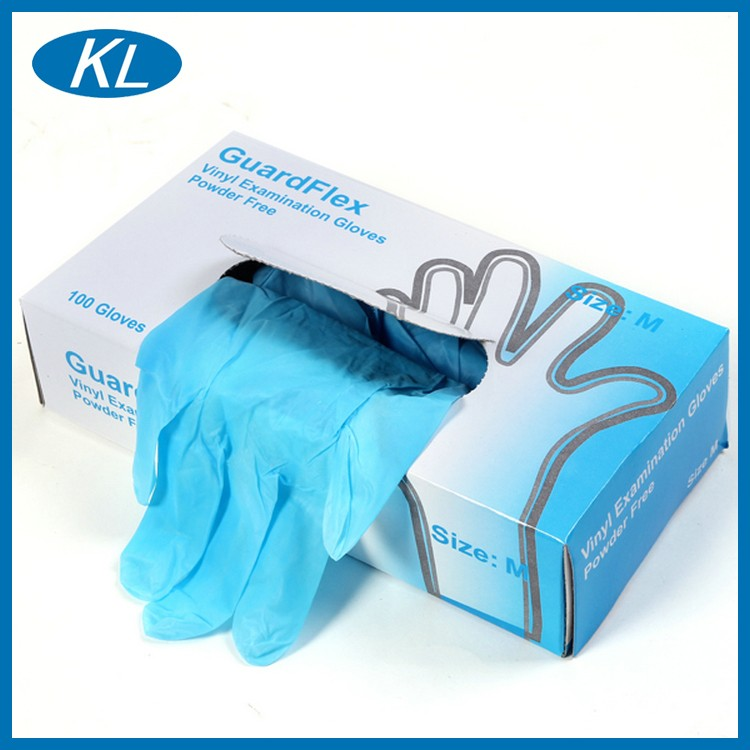 KL clear and blue boxing disposable disposable examination vinyl gloves for protection