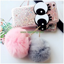 New Winter Big Eyes Fur Ball Pendant Glitter TPU Phone Cases for iPhone 7 plus
