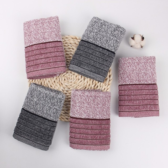 AB yarn cotton terry face towel with stripe