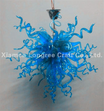 Modern Art Deco Blue Blown Murano Glass Small Chandelier Light for Bedroom Decor