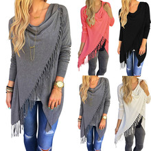 New Casual Women Long Sleeve Solid Tassel Slash Blouse Tops Shirt Plus Size Blouse Tops