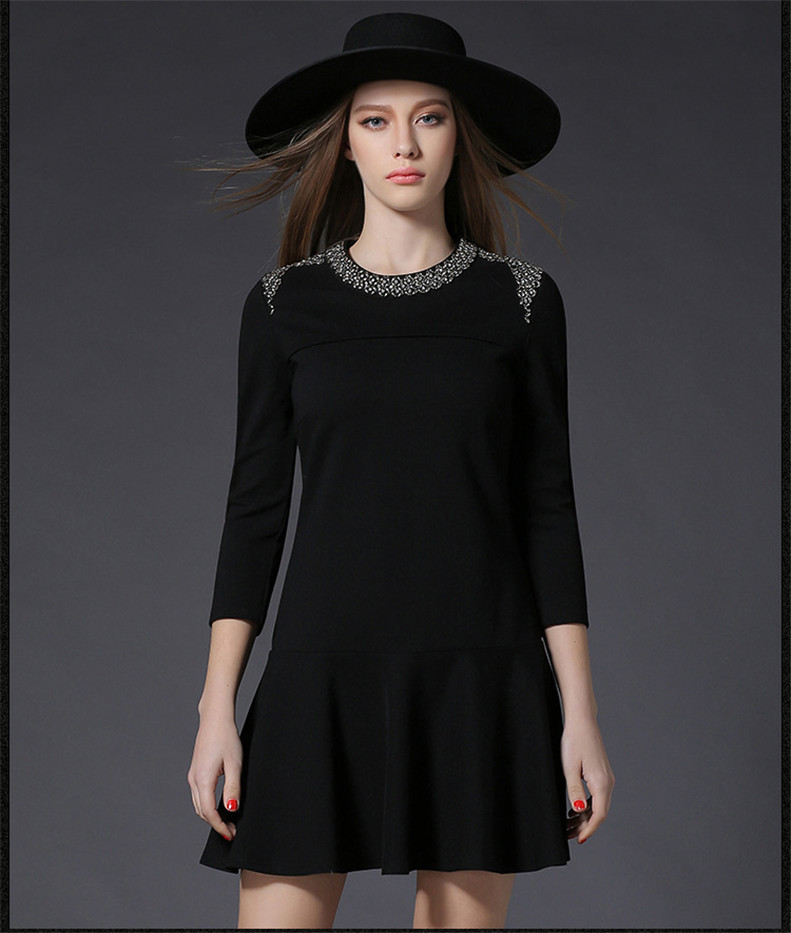 2017 new design set drill flouncing round neck long sleeve A-line dress China factory