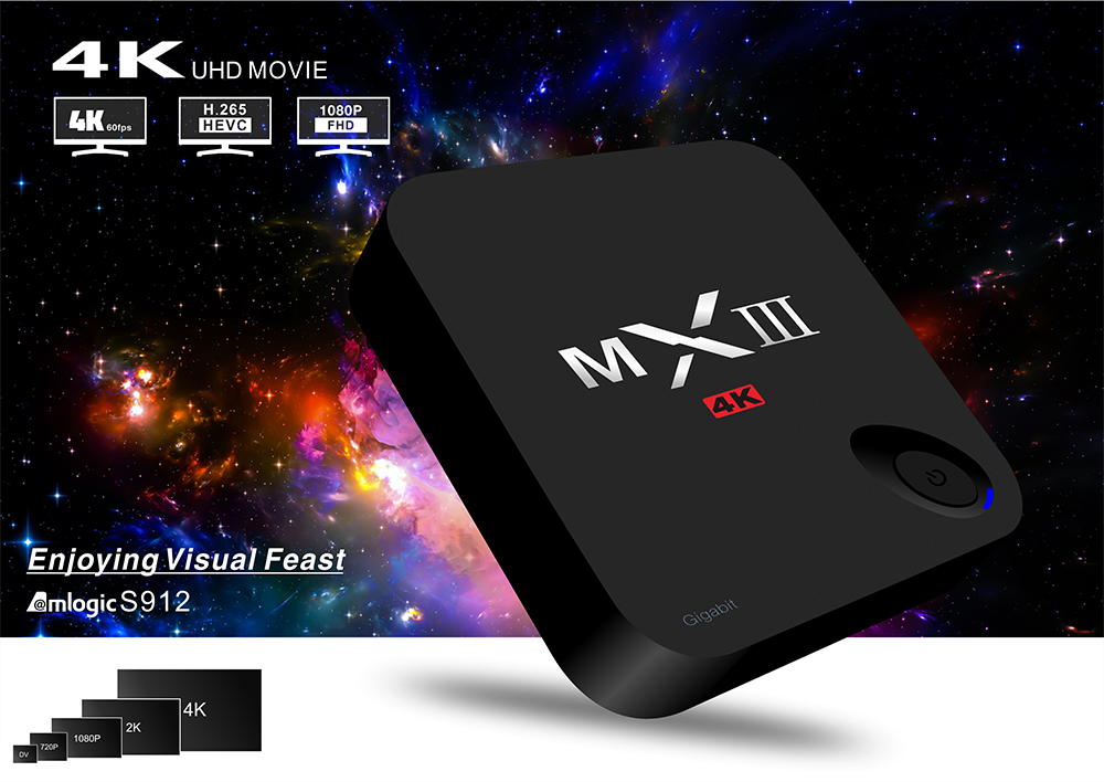 MXIII-G II Amlogic S912 Quad core 2G/16G/32G BT 4.0 Android 6.0 TV Box Dualband WiFi KODI H.265 MXIIIG Smart TV Box