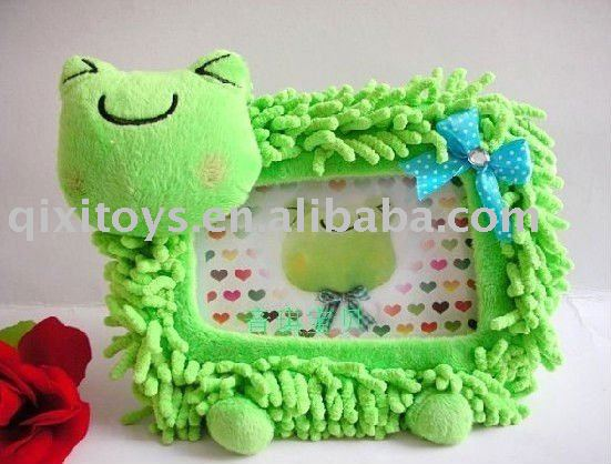 stuffed plush toy frog photo frame, picture frame