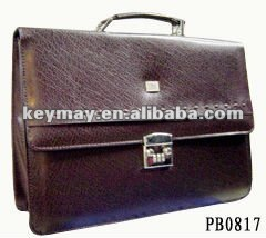 Trendy Brown PU Leather Briefcase Men Business Bag