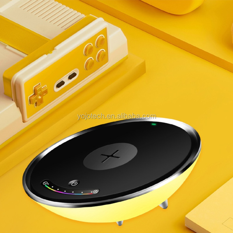 QI Wireless Charger with LED Night Light Colorful Mood Lamp, Decorative Light, Bedside Lamp