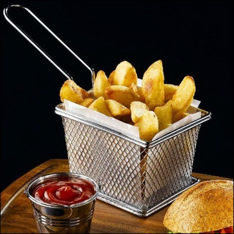 30 pcs Chips Mini Fry Baskets Stainless Steel Fryer Basket Strainer Serving Food Presentation French Fries Basket