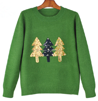 Winter knitting wear lady Christmas tree green fashion wool pullover sweater