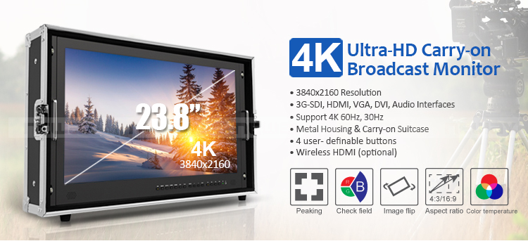 23.8 inch Professional Broadcast Monitor 4k with Quad View