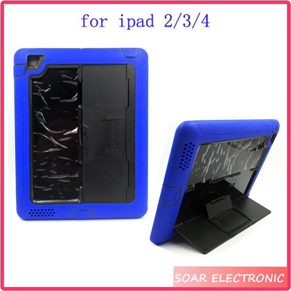 shockproof 10 inch tablet case for Ipad ,silicone heavy duty stand case for iPAD 2/3/4