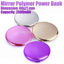 2500mAh Portable Charging Compact Slim Round Power Bank with Mirror for Samsung /LG /Nokia /HTC /MP3 /MP4 Made in China