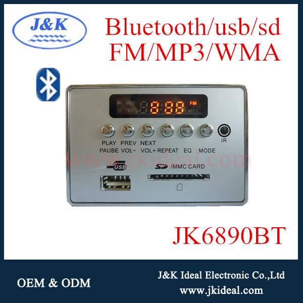 JK6890BT 12v Bluetooth radio module usb sd fm mp3 kit