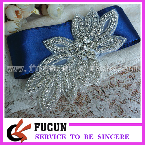 Beaded Rhinestone Crystal Wedding Dress Sash Hair DIY Applique Motif