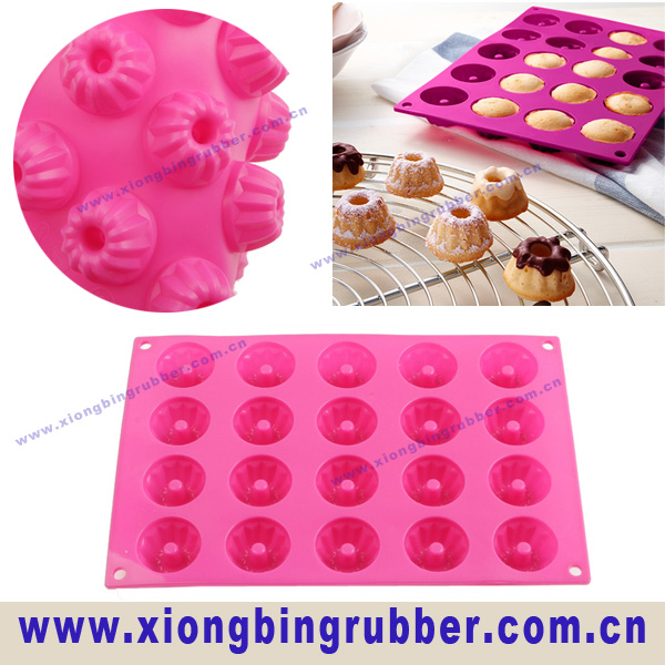 2014 Hot Sale 20 Cups Flower and Donut Silicone Mold and Baking Pan