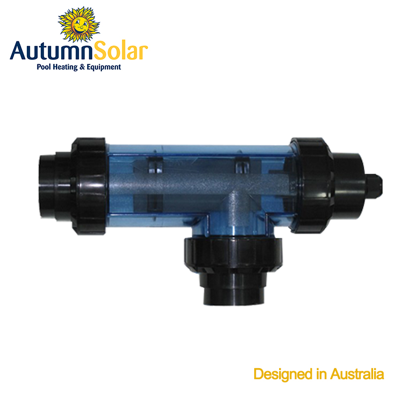 Titanium anode cell chlorinator for pool water