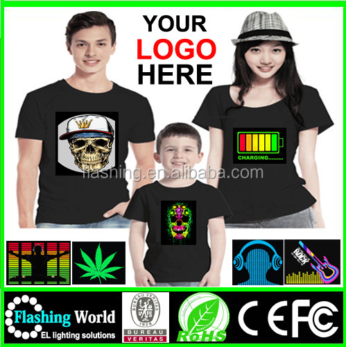 High quality led shirt,sound active tshirt ,SHIRT EL