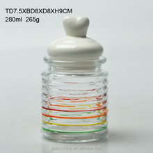 260ml colored glass candy jar with ceramic lid