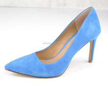 2016 New arrival sky blue kid suede ladies fashion high heel pump shoes
