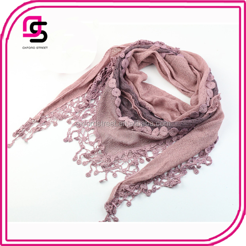 China factory best selling floral lace triangle scarf