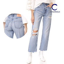 Wholesale China Top Design Distress Sex Lady Jeans Pants Ripped Jeans Women Picture