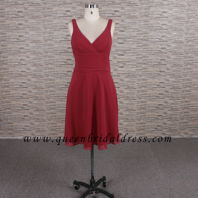 Perfect Halter neck burgundy knee length bridesmaid dresses