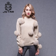 New designs 30% wool + 70% acrylic woolen sweater with fox fur pompon winter sweater for ladies