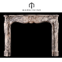 Elegant design carrara white marble indoor used fireplace mantel