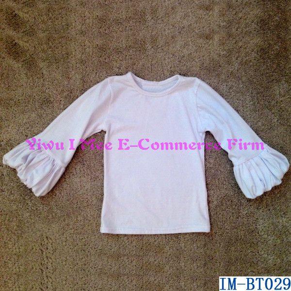 Latest Baby Blouse Designs Kids White Cotton Puff Sleeves Shirts for Girls IM-BT029