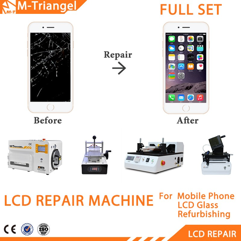 Full Set Efficiency LCD Touch Screen Separator Repair Machine+Vacuum Polarized Film OCA Laminating+Vacuum Laminating& Bubble Rem