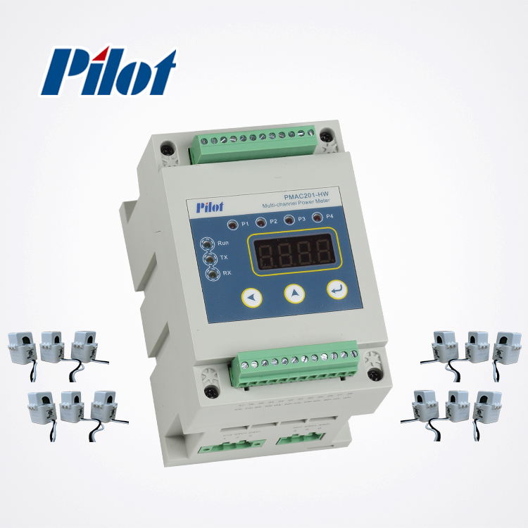 PILOT PMAC201HW Modbus 3 phase 4 wire energy meter connection