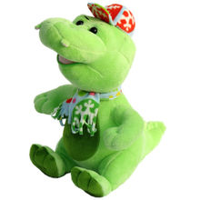 wholesale green plush dinosaur toy manufacturer stuffed dragon on hat animal for baby