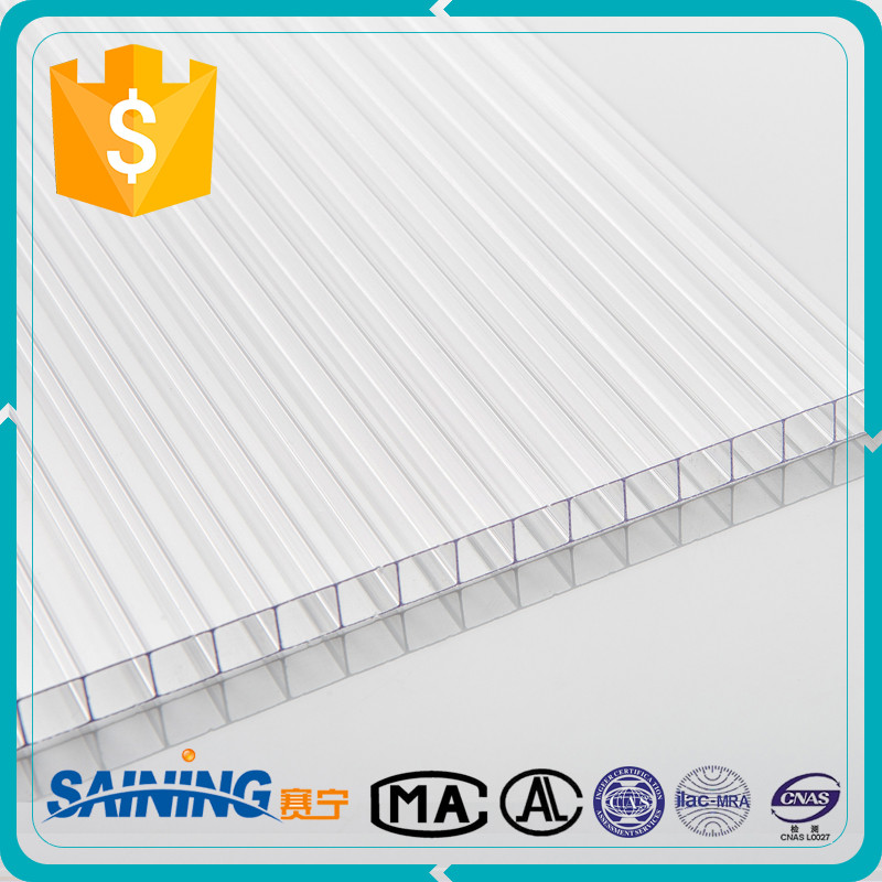 Triple wall polycarbonate sheet with uv-protection clear plastic sheets
