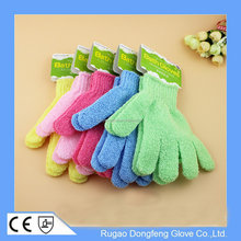 Customized Nylon Exfoliating Gloves Wash Spa Massage Shower Bath Glove Body Scrubber Glove