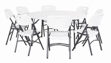 5' outdoor and indoor wedding and banquet plastic top folding tables and chairs set on sale