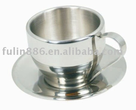 stainless steel coffee cup with saucer/milk cup