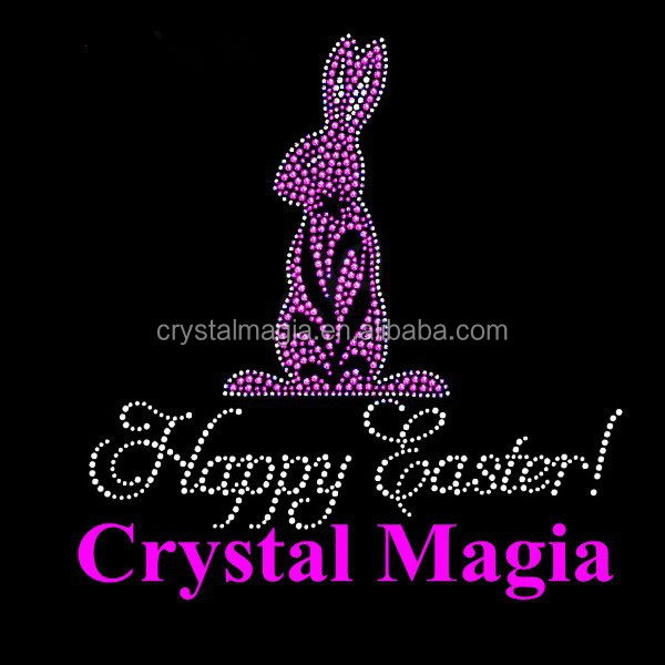 Happy Easter panther rhinestone transfer, hot fix rabbit rhinestud motif