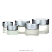 China wholesale cosmetic packaging empty frosted <strong>glass</strong> cream <strong>jar</strong>