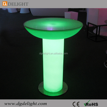 New Design Luminous Led Furniture High LED Bar Table Round LED Cocktail Table